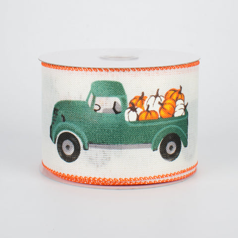 "Fall Pumpkin Green Truck Ribbon 2.5"" x 10 yards"