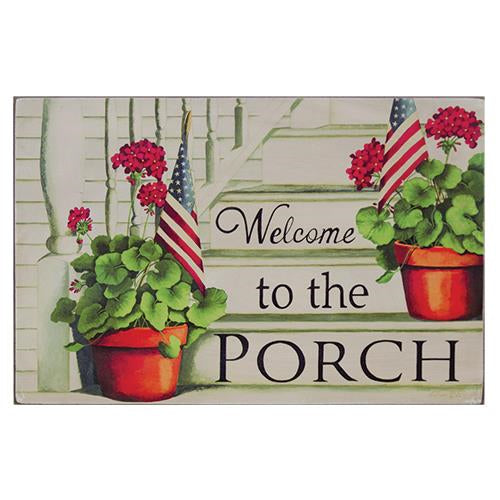 Welcome to the Porch Sign - Red Geraniums and USA Flags