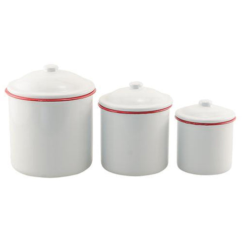 Farmhouse Set of Three Red Rim Enamel Canisters