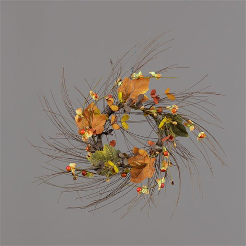 "Bittersweet and Fall Leaves 10"" Small Faux Twig Wreath"