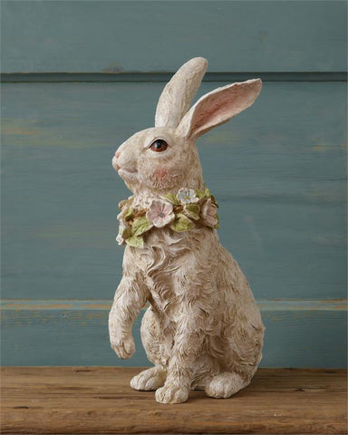 "Spring Bunny Rabbit Sitting Figure with Flowers 14"" H"