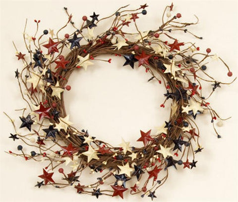 "Americana Berries And Tin Stars 16"" Wreath"