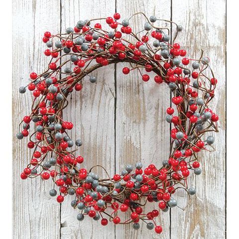 "Waterproof Scarlet Gray Berry 20"" Wreath"