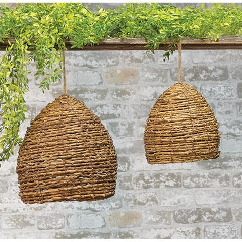 Set of 2 Natural Decorative Bee Skeps