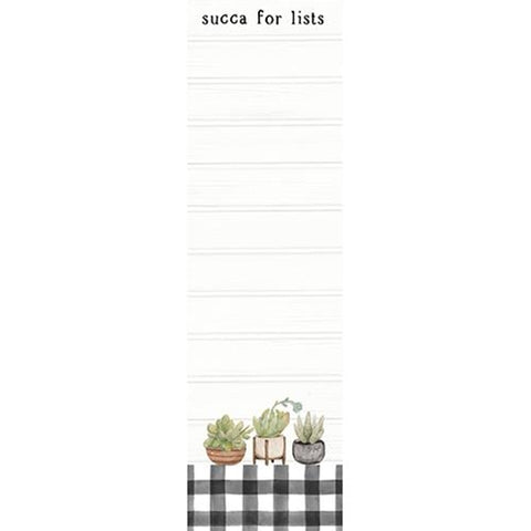 Succa For Lists Magnetic Succulents Buffalo Plaid Notepad