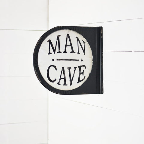 Man Cave Round Double Sided Tin Sign