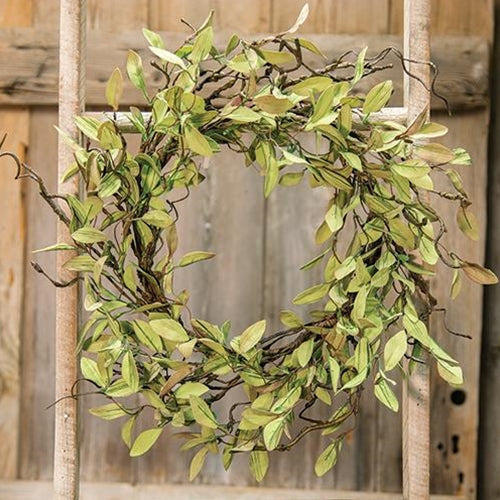 "Sage Leaves & Twigs 24"" Wreath"