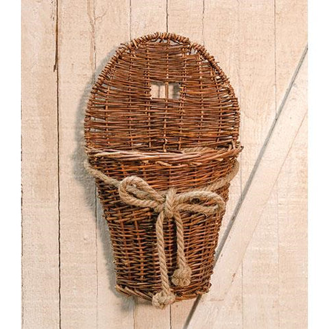 "Willow Basket 17"" Wall Pocket with Jute Bow"
