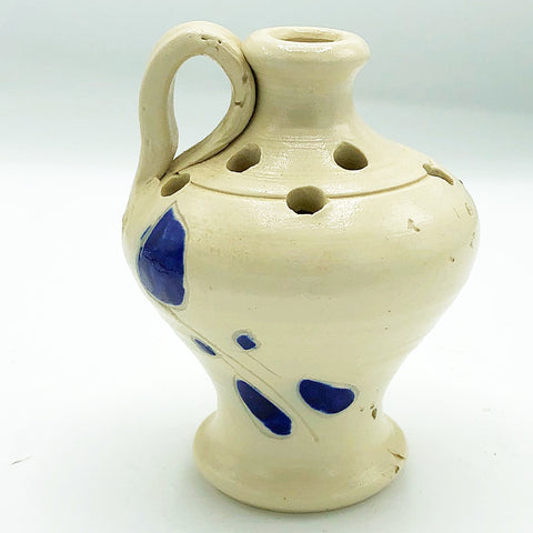 Blue Leaf Salt Pottery Flower Frog Jug