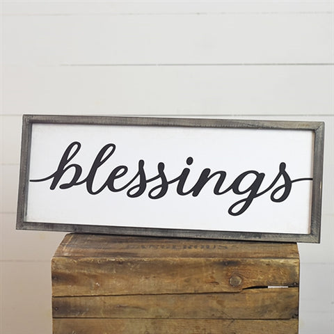 "Blessings Script Wood Frame 24"" Sign"