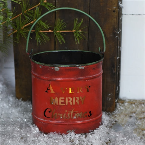A Very Merry Christmas - Cut Out Red Tin Bucket