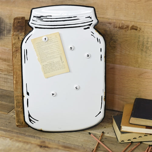 Tin Mason Jar Memo Board with Magnets
