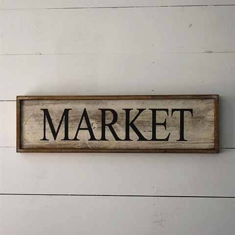 "Wooden Farmhouse 24"" Sign - Market"