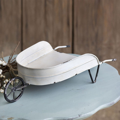 Decorative Tabletop Distressed White Wheelbarrow