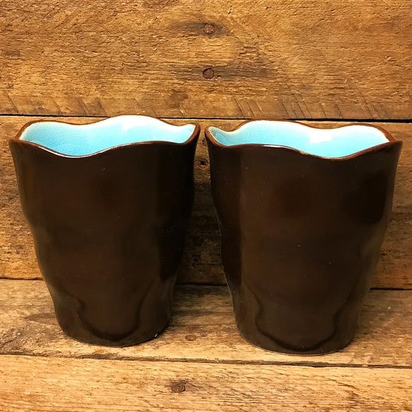 Set of Two Asian Blue and Brown Crackle Tea Cups