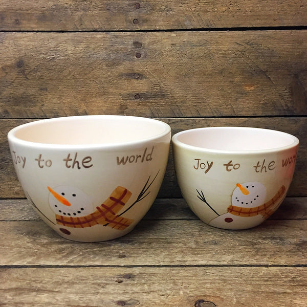 Set of 2 Joy to the World Snowman Bowls