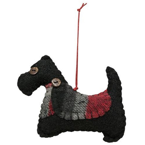 Plaid Felt Scottie Dog Ornament