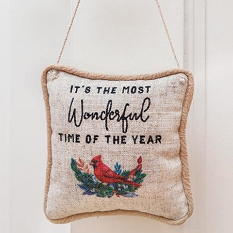 It's the Most Wonderful Time of the Year Hanging Cardinal Pillow
