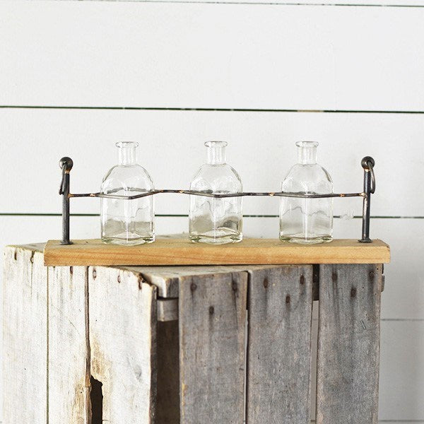 Tin and Wood Triple Stem Vases and Stand