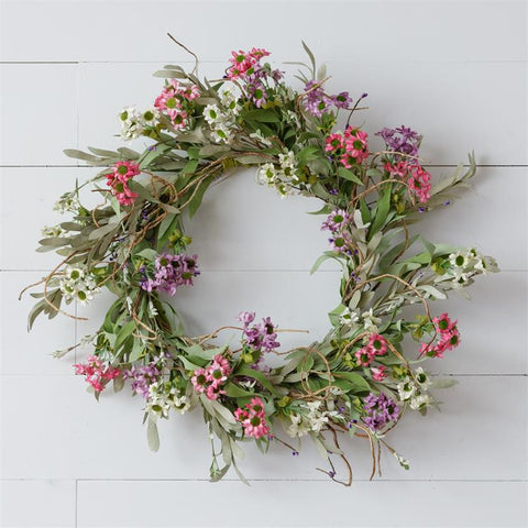 "Twiggy Colorful Mini Daisies and Sage 23"" Faux Wreath"