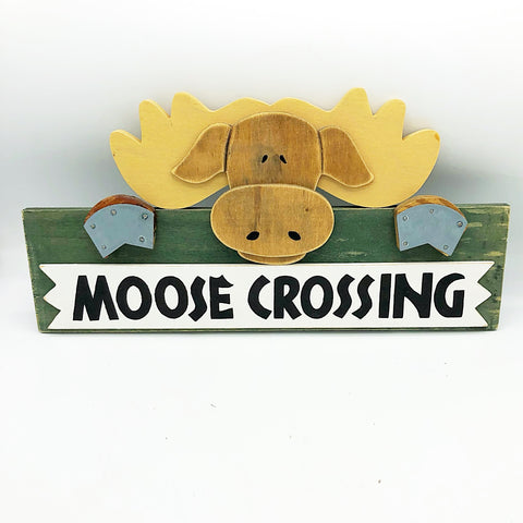 Moose Crossing Wooden Lodge Sign
