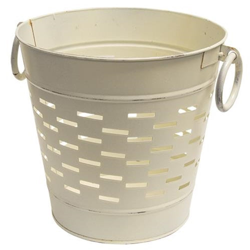 "Farmhouse White 9"" Vented Olive Bucket"