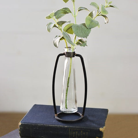 Industrial Metal and Glass Stem Vase
