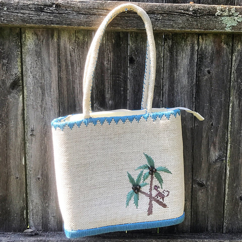 Tropical Tote Embroidered Palm Tree and Monkey Bag