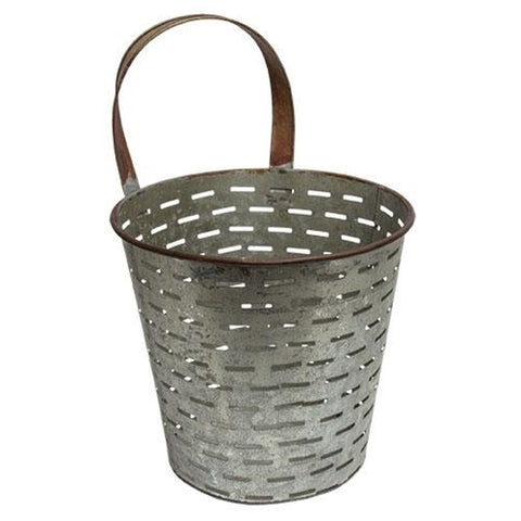 Galvanized Metal Olive Bucket with Hanging Handle