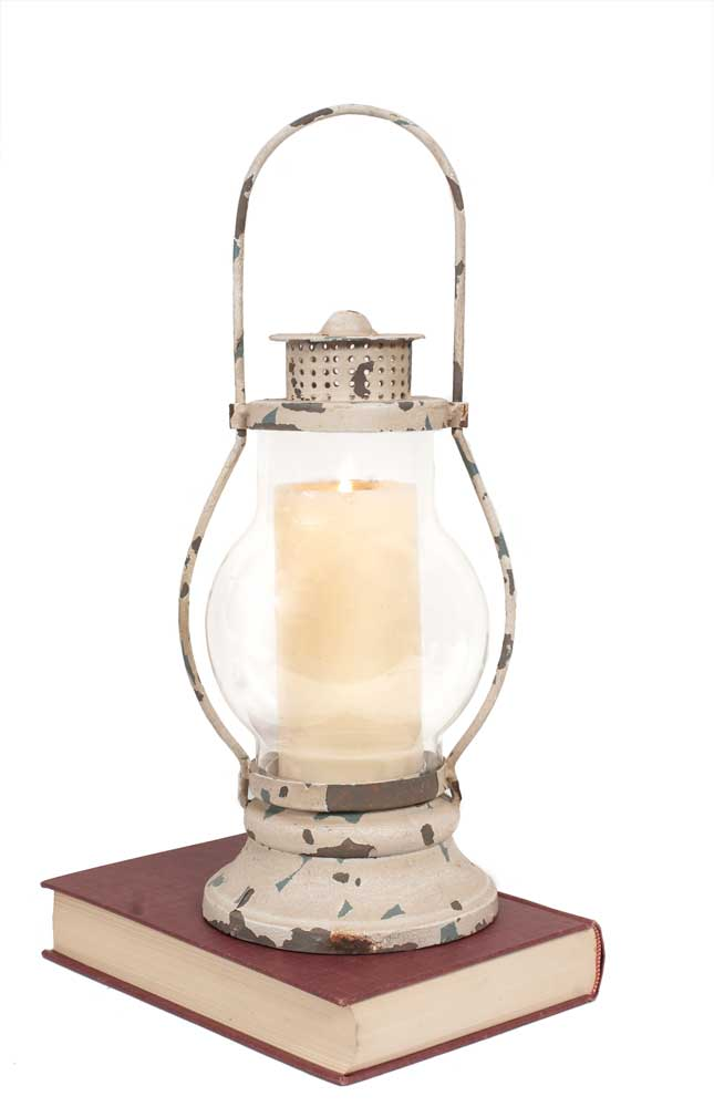 Distressed White Railway Hanging Lantern