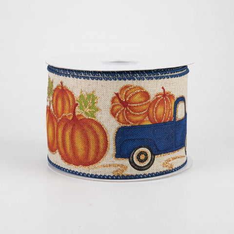 "Vintage Pumpkin Truck with Royal Blue Border Ribbon 2.5"" x 10 yards"