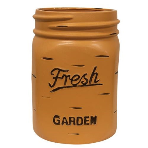 "Orange Mason Jar 13"" H Planter"