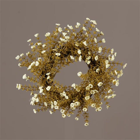 "Natural Wildflower Ivory Alyssum Blossoms Small 12"" Wreath"