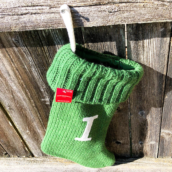 Target Monogrammed I Green Cable Knit Stocking