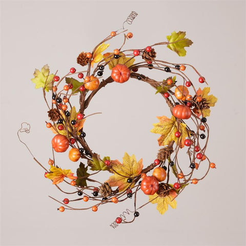Pumpkins, Pinecones & Autumn Berries Twig Small Wreath Ring