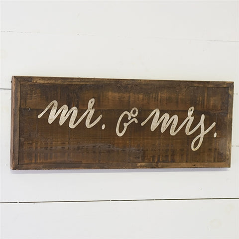 "Reclaimed Rustic Wood 23"" Sign - Mr & Mrs - Wedding Love Anniversary"