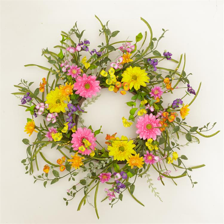 "Warm Garden Flowers Colorful 24"" Wreath"