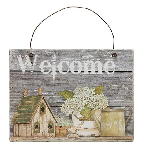 Bird House and Blooms Welcome Sign