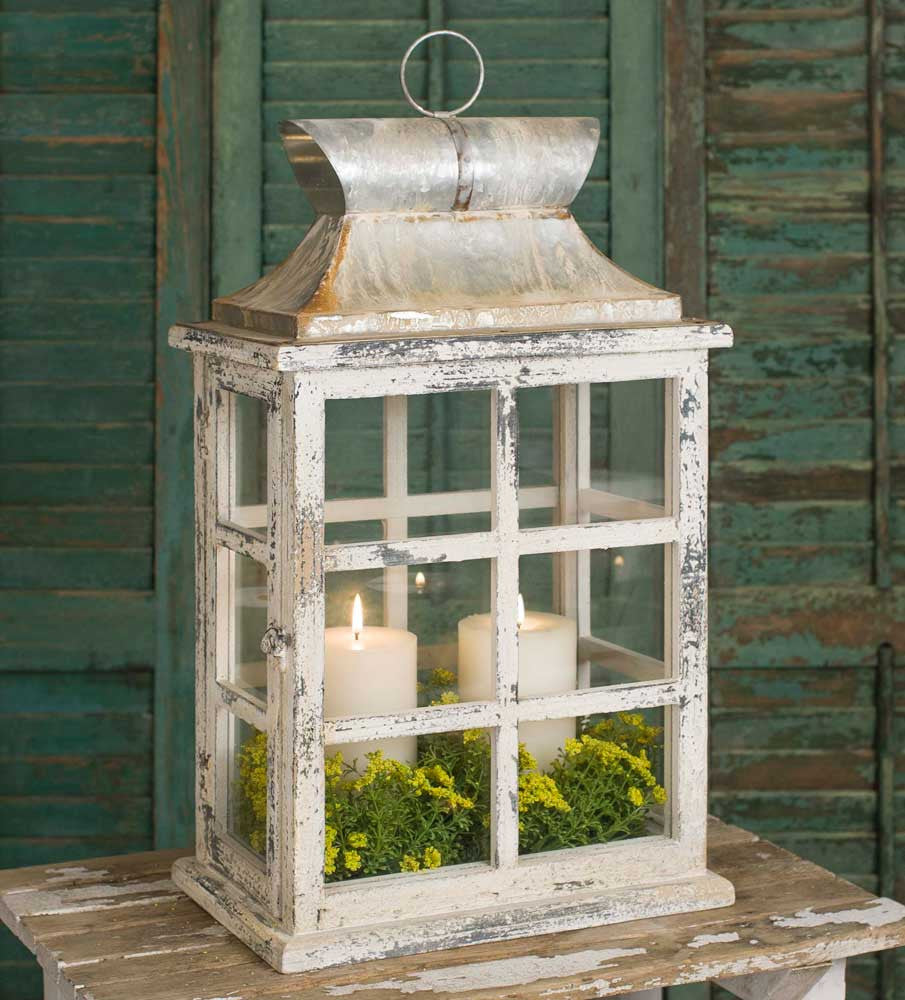 Large Windowpane Lantern with off white distressed finish