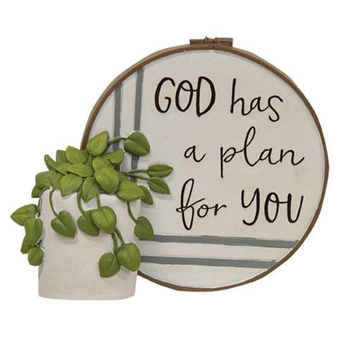 God Has a Plan For You Resin Stitchery Small Figurine