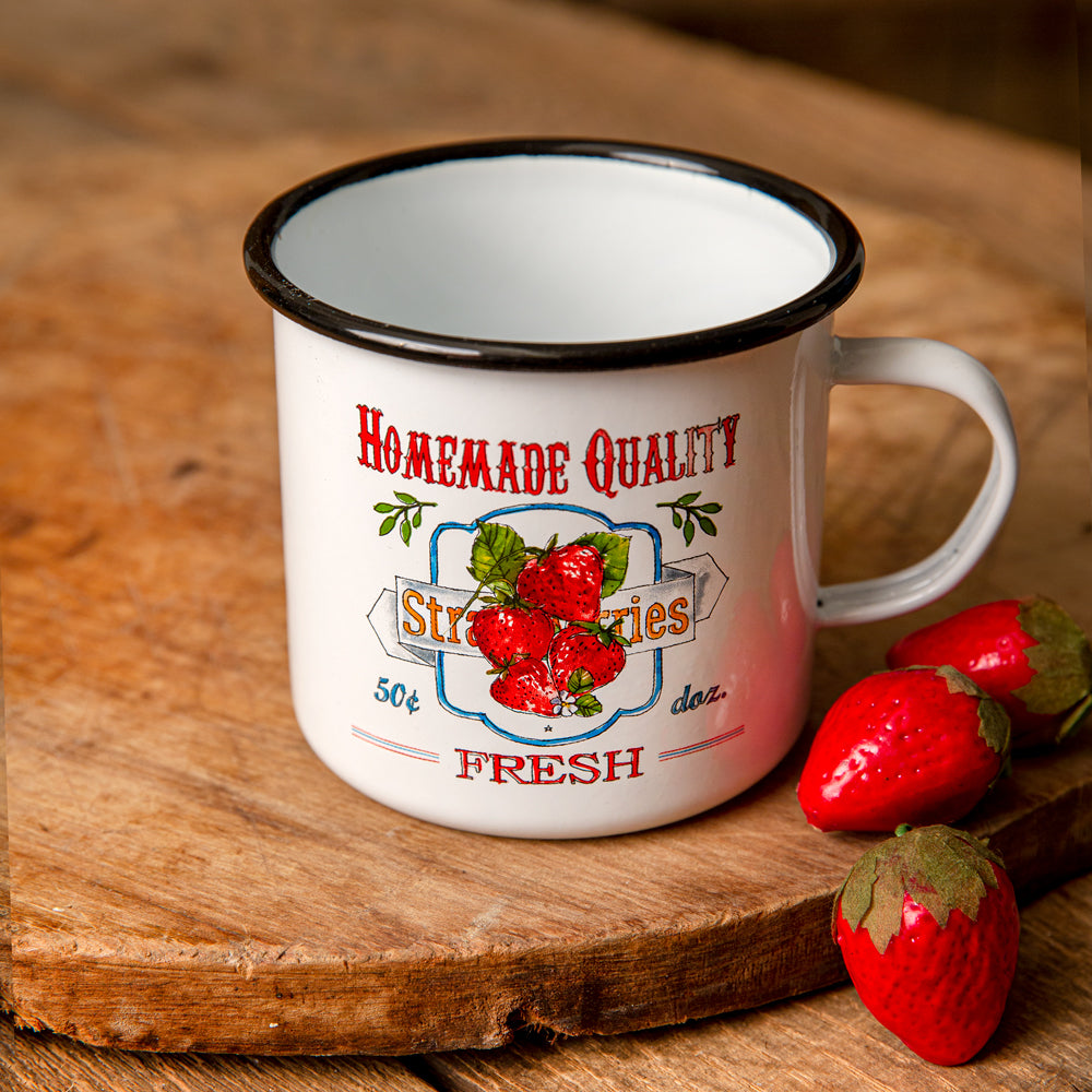 Homemade Quality Fresh Strawberries Enamelware Mug