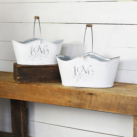 Set of Two Tin Love Baskets
