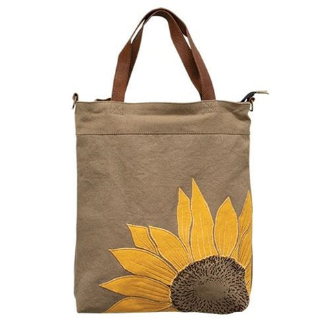 Sunny Tote Bag - applique sunflower natural bag
