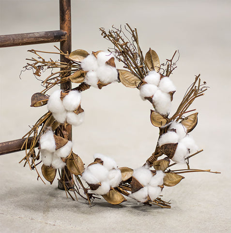 "Cotton and Twig 12"" Small Wreath / Candle Ring"