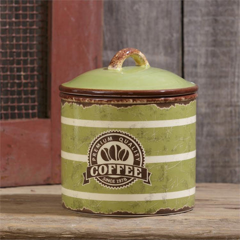 Retro Premium Quality Coffee Canister - green ceramic