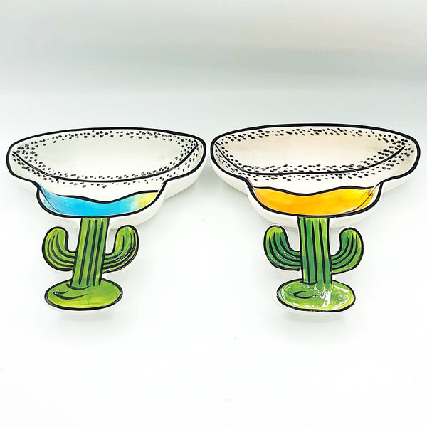 Set of 2 Clay Art Cactus Margarita Glass Shaped Dip Bowls