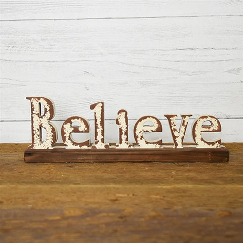 Believe Cut-out Letters Tabletop Sign