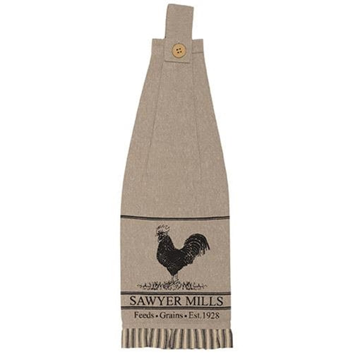 Sawyer Mill Charcoal Poultry Button Loop Kitchen Towel