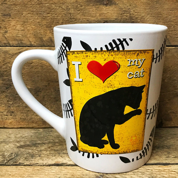 I Love My Cat - Cat Silhouette Yellow Mug