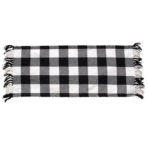 "Black & White Buffalo Check Short 32"" Table Runner"